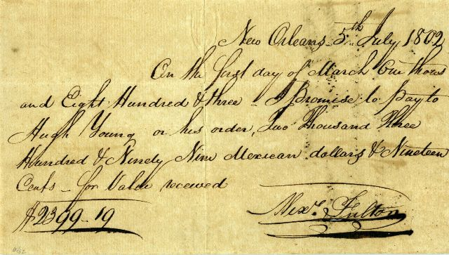 Front of the Alexander Fulton promissory note, July 5, 1802