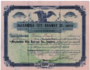 Alexandria City Railway Co. Stock Certificate