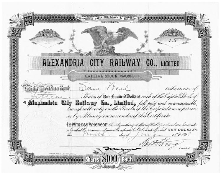 Alexandria Louisiana City Railway Company History Map