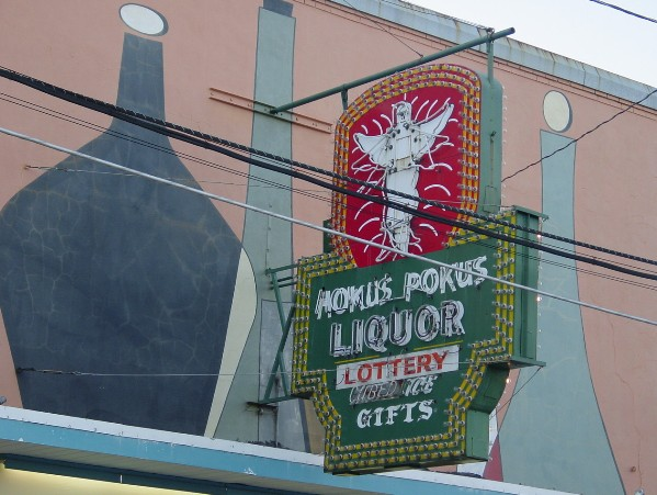 Hokus Pokus Liquor neon sign, Lee Street, Alexandria, Louisiana, completed by the Craig Sign Service
