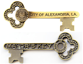 Key to the City of Alexandria Louisiana given by the Mayor